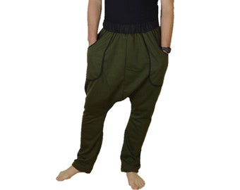 6fb7cb76e Fleece Harem Pant with pockets Unisex army green
