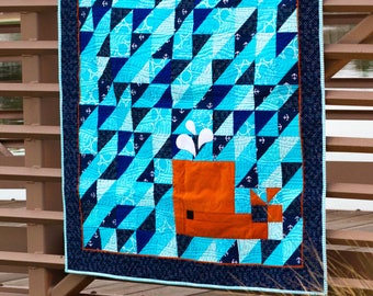 Whale of a Tail - modern quilt, basic pieced and applique quilt pattern