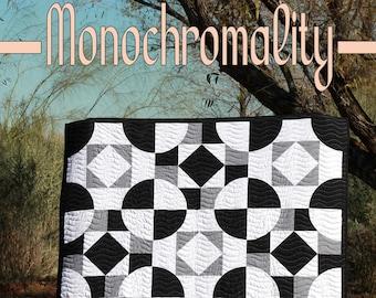 Monochromality - Modern Black, White and Gray Drunkards Path PDF Quilt Pattern