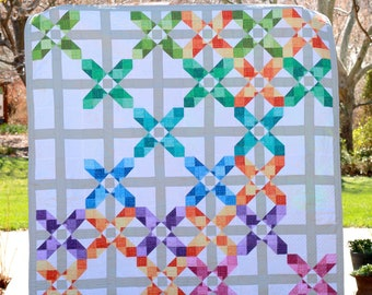 Awestruck - Modern Half Square Triangle and Flying Geese PDF Quilt Pattern
