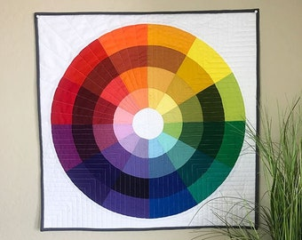 Color Wheel Mini Quilt - PDF Download Modern Quilt Pattern - Traditionally Pieced or Applique Options