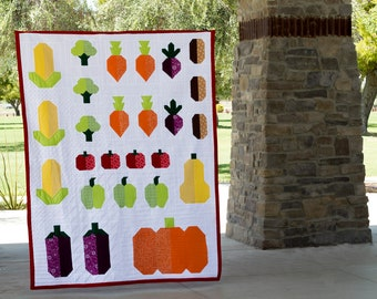 Fall Harvest - Modern Traditionally Pieced Vegetable Garden PDF Quilt Pattern