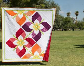Windswept - Modern Drunkards Path Flower PDF Quilt Pattern