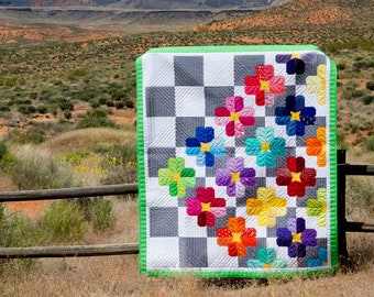 Checkmate - Modern Foundation Paper Piece Scrappy Flower PDF Quilt Pattern