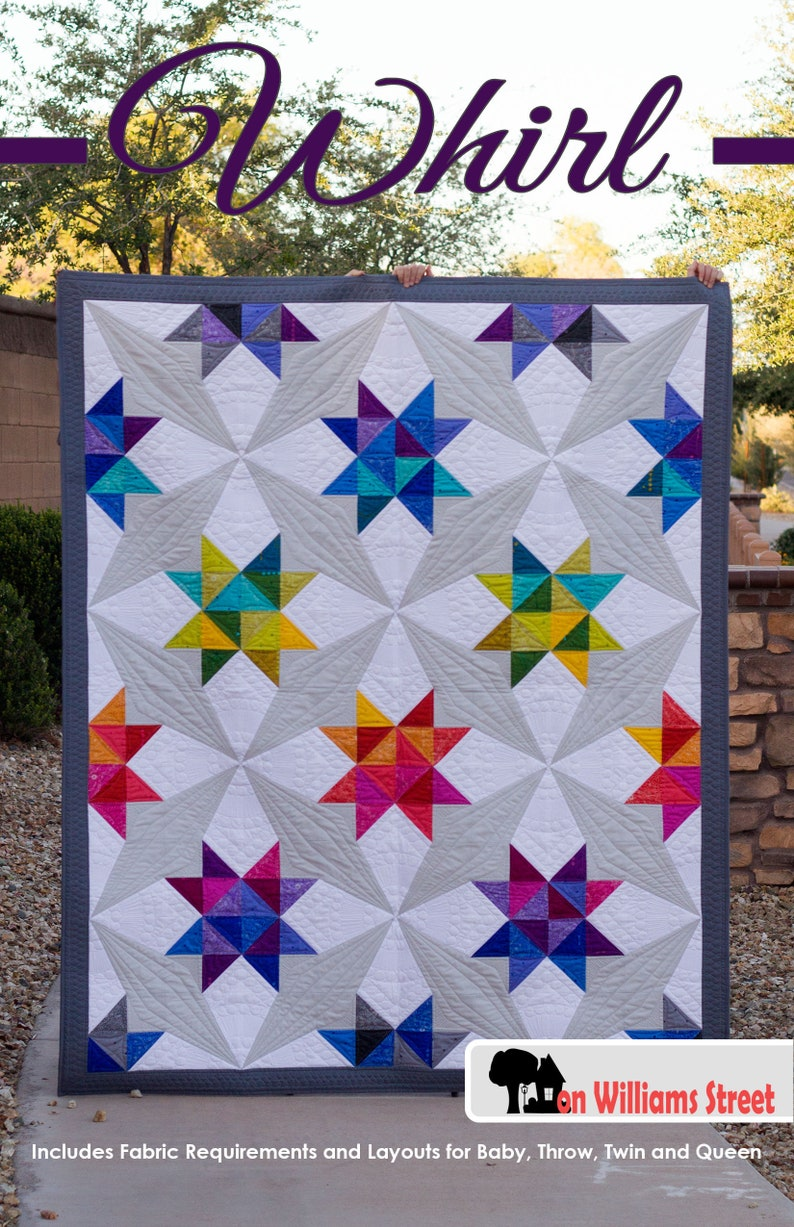 Whirl Modern Half Square Triangle And Paper Piece Pdf Quilt Etsy