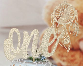 Wild One Cake Topper, ANY COLOR, Wild One Birthday Party, Birthday Decorations, Boys or Girls Birthday, Indian Cake Topper, Dreamcatcher