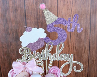 Birthday ANY AGE COLORS Cake Topper Fifth 8th Party Decorations Hats Cupcakes
