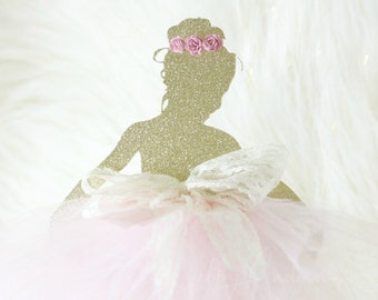 Ballerina Cake Topper - Ballerina Party Decorations - Ballerina Party Decor - Ballerina Birthday Party Cake Topper - Gold Ballerina Glitter
