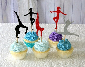 Gymnastics Cupcake Toppers ANY COLORS Teenager Party Gymnastic Birthday Sports Girls Poses Glitter