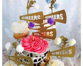Surprising Cheer Cake Topper Etsy Funny Birthday Cards Online Fluifree Goldxyz