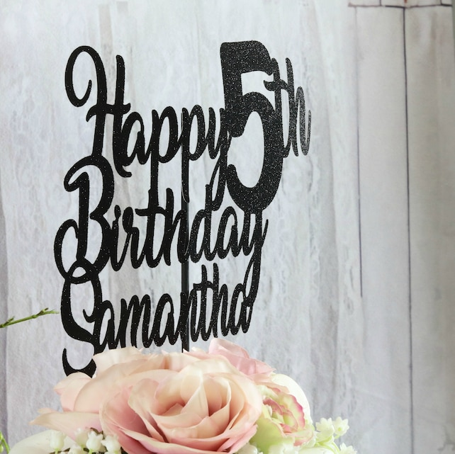 Happy Birthday Cake Topper ANY AGE NAME 5th Party Decorations Centerpiece Pick