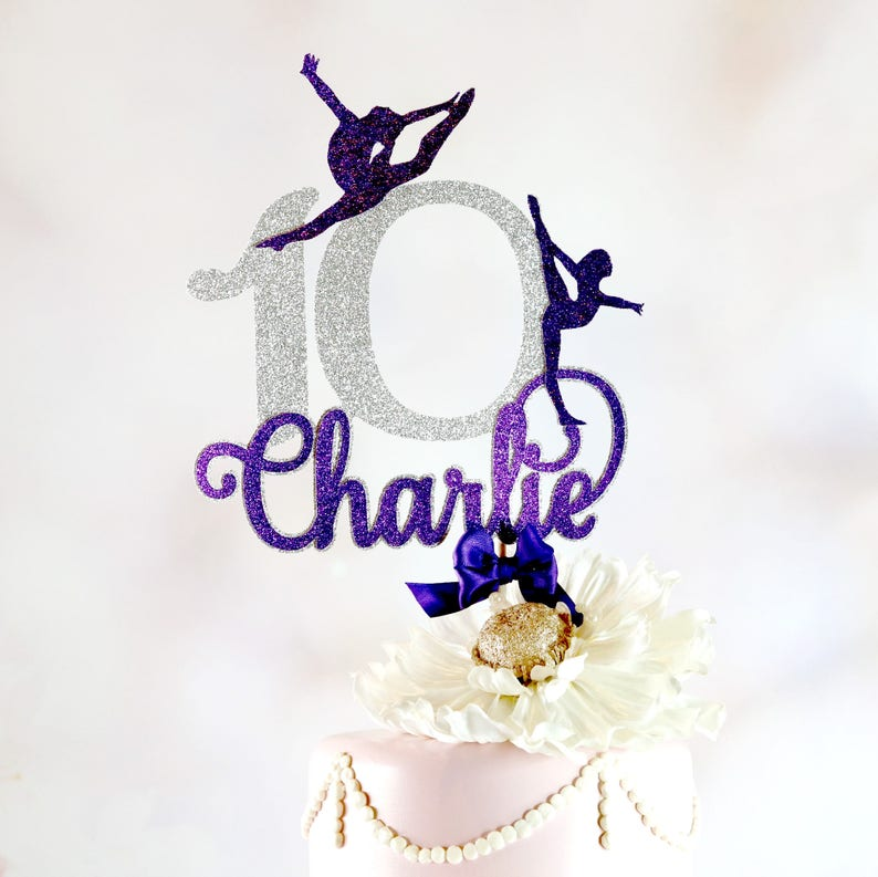 Gymnastics Cake Topper ANY NAME AGE Party