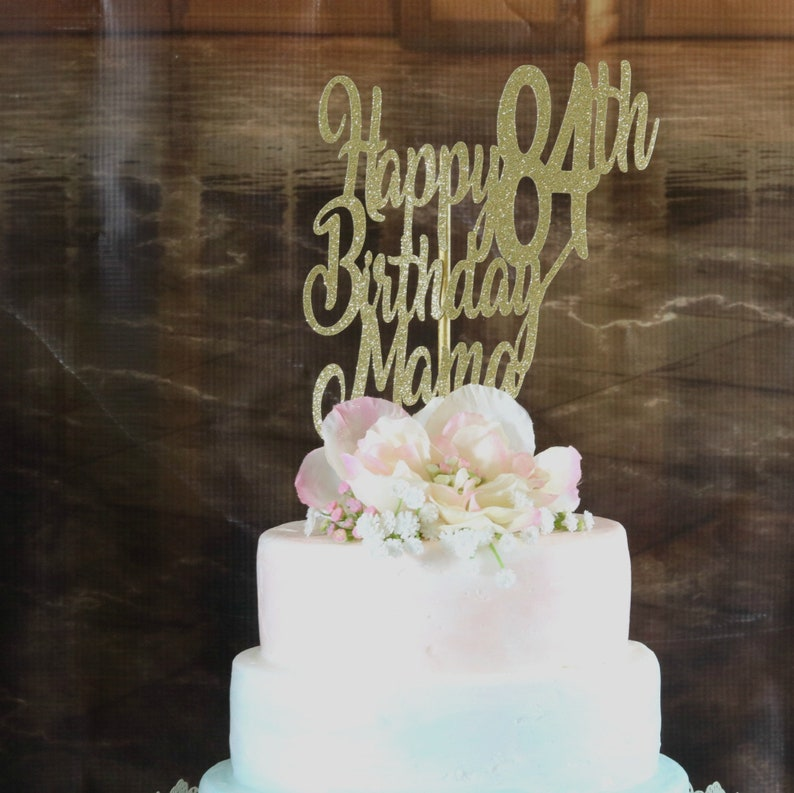 Mom Birthday Cake Topper ANY AGE NAME Color 84th