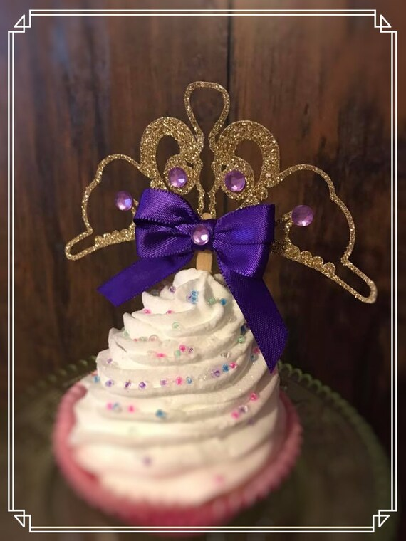 Sofia The First Inspired Cupcake Toppers Sofia Tiara Sofia Etsy