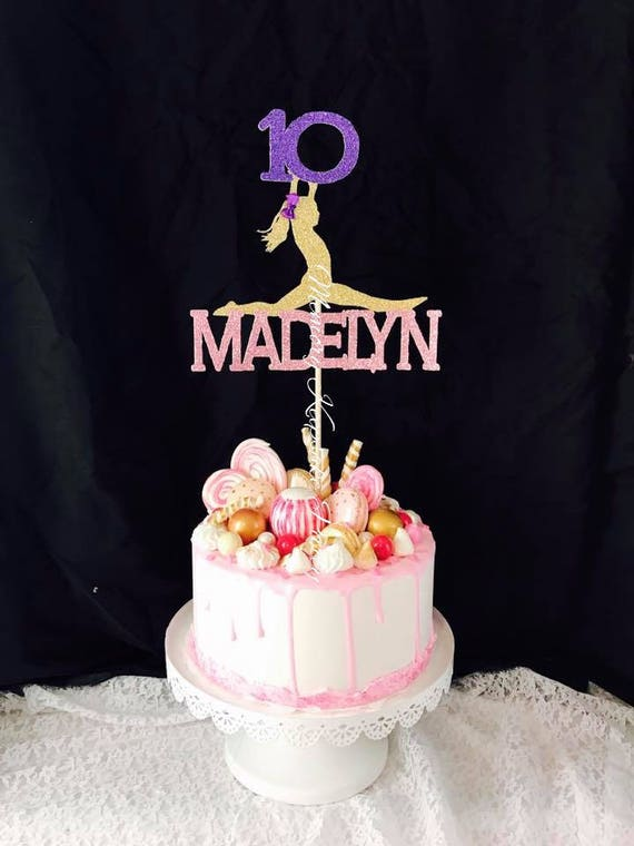 Any Name Gymnastics Cake Topper Any Age Girls Birthday Etsy