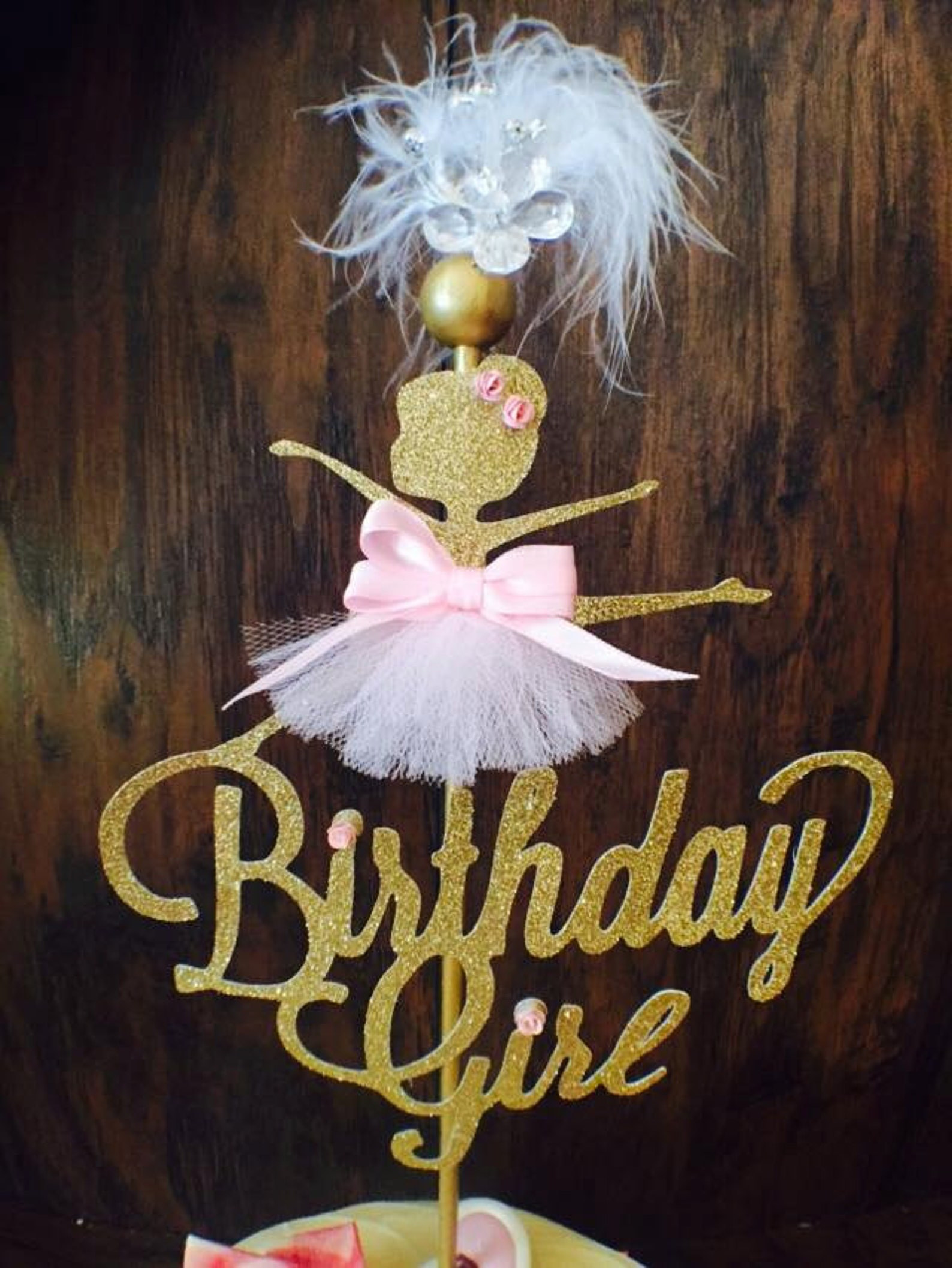 ballerina cake topper - ballet cake topper - ballerina party decorations - ballet party decorations - slippers - little ballerin