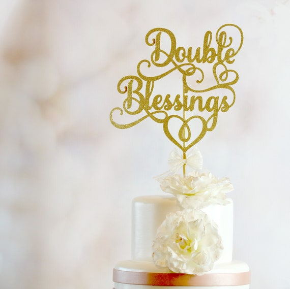 Baby Shower Cake Topper Double Blessings Cake Topper Twins Etsy