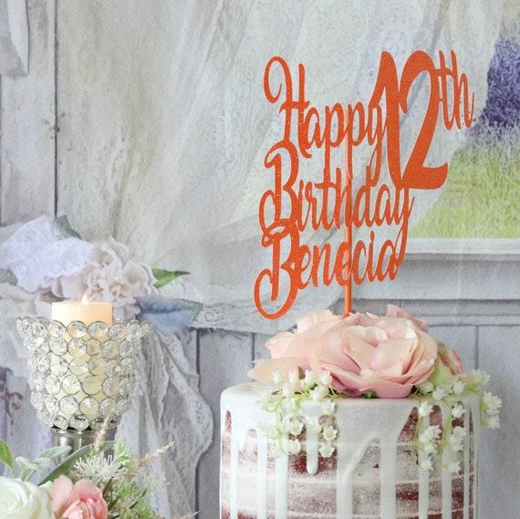 12th Birthday Happy Birthday Cake Topper Any Age Name Etsy