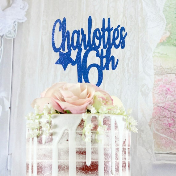 16th Birthday ANY NAME AGE Any Color Cake Topper