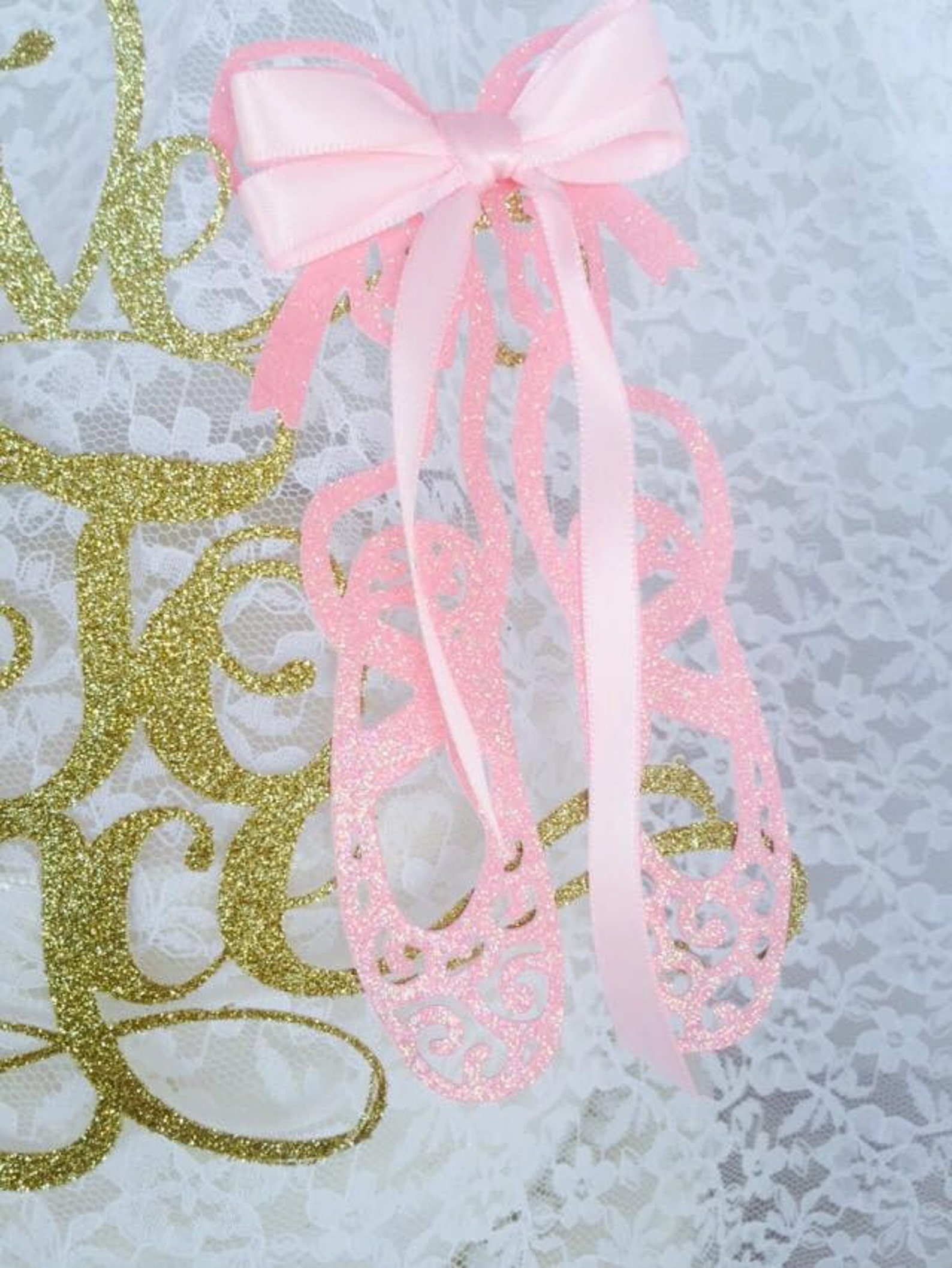 love to dance cake topper - ballerina shoes - ballet event - pink and gold decorations - little girl ballerina - custom colors -