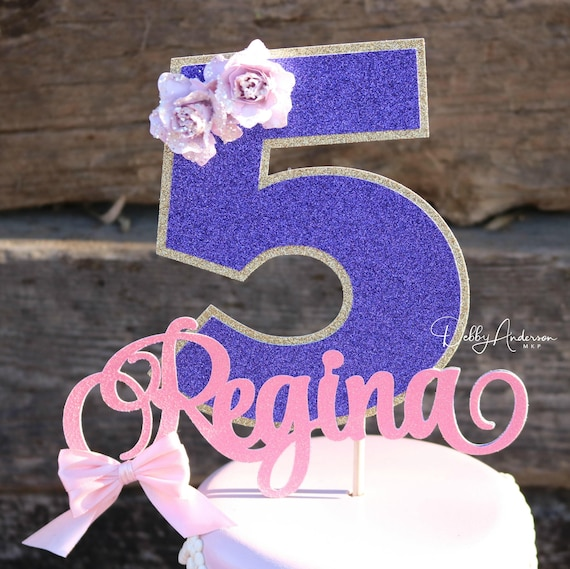 Fifth Birthday Cake Topper ANY NAME AGE First Second Party Decorations Age Floral