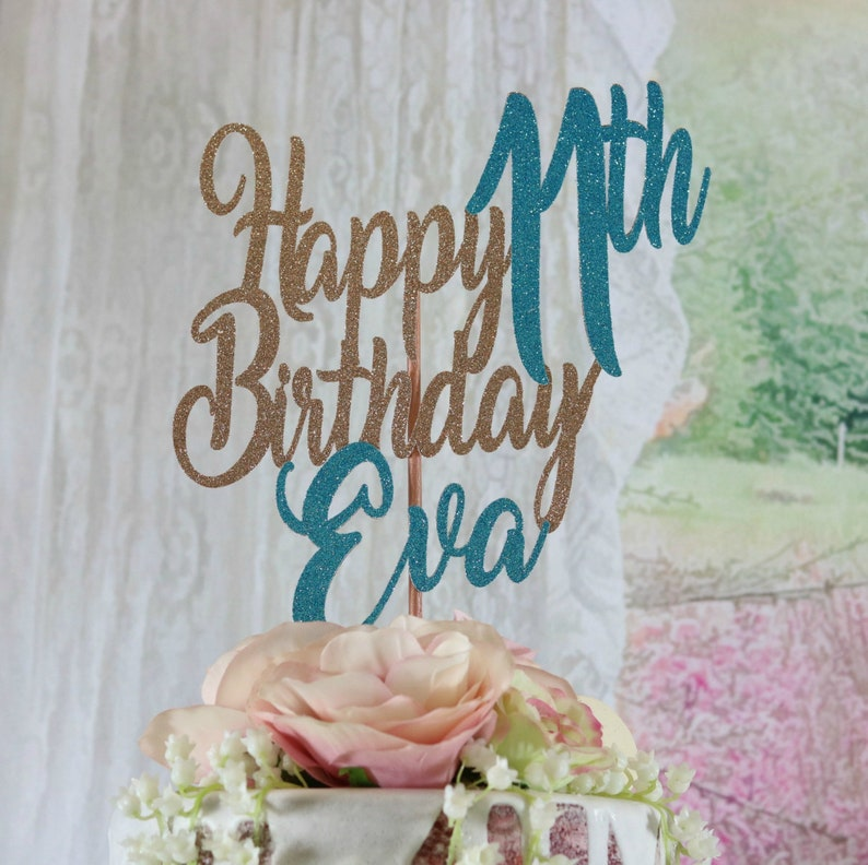 11th Birthday Cake Topper ANY NAME AGE Color Happy