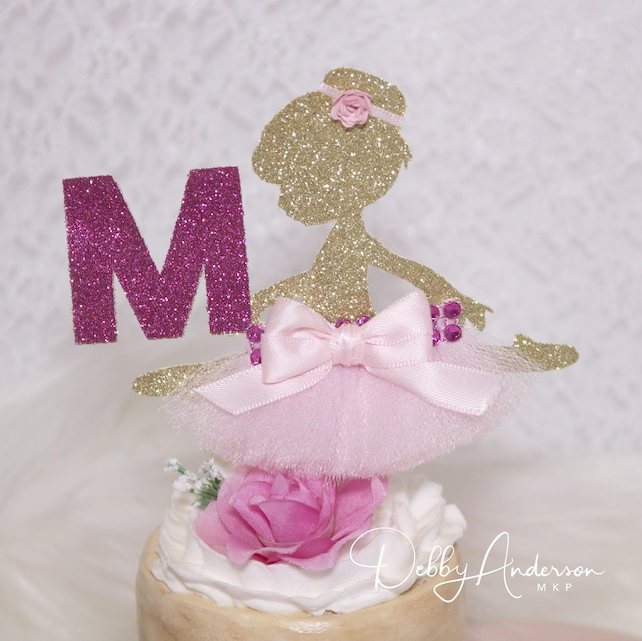 Ballerina Theme Party Any Color Initial Ballerina Cupcake Toppers
