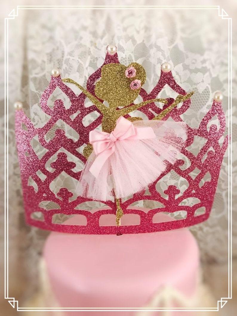 digital Princess Tutu Ballerina Birthday Chalkboard Birthday poster Pink Birthday Poster Gold Glitter First Birthday Sign