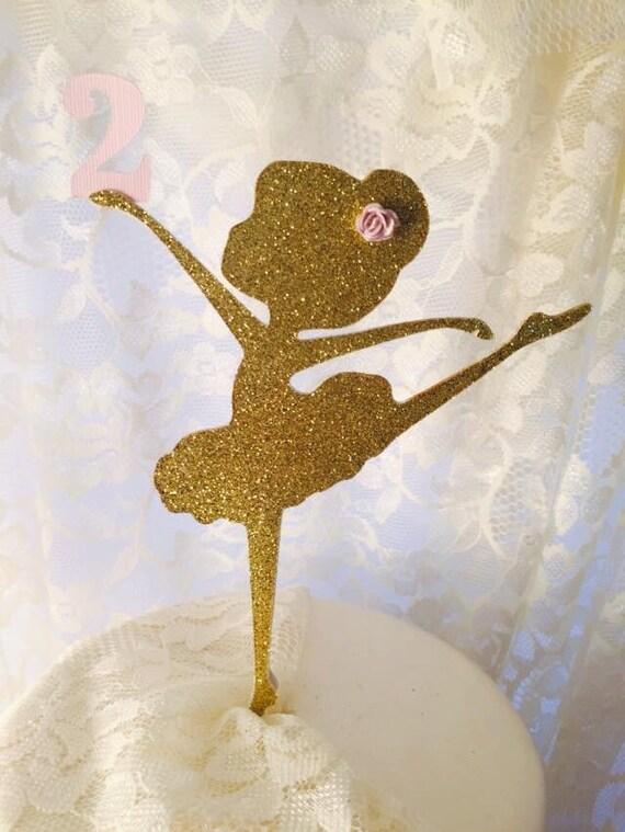 Cake Topper Ballerina Dancer Gold Glitter Decoration For Etsy