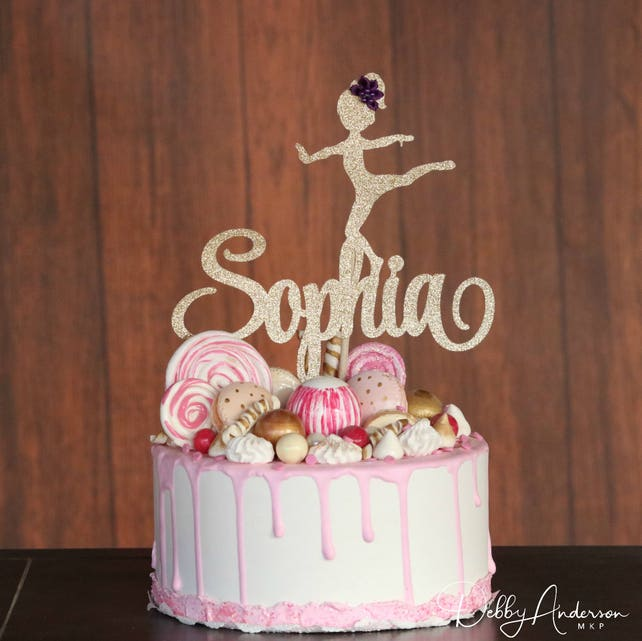 Gymnastic Cake Topper ANY NAME COLORS Dancer Birthday Party Decoration Girls
