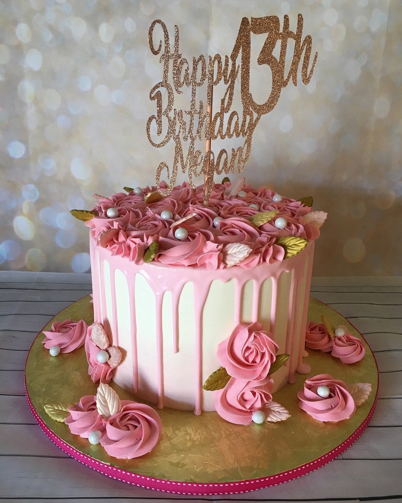 Happy Birthday Cake Topper ANY AGE NAME 18th Party