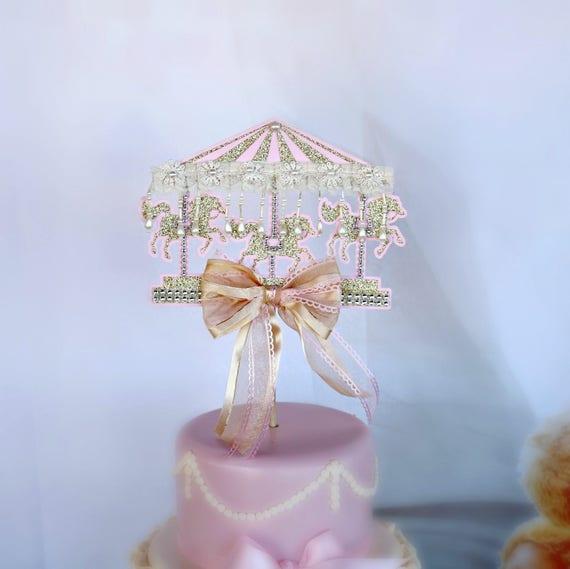 Carousel Horse Cake Topper First Birthday Cake Topper Smash Etsy
