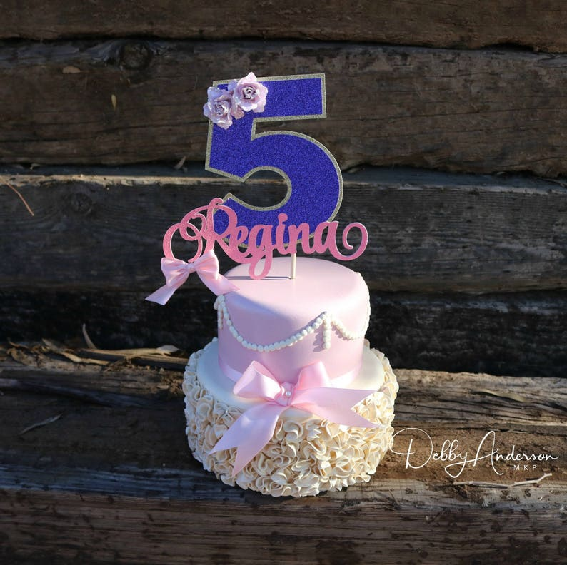 Floral Cake Topper Birthday Party Decorations Age Cake Topper Second Birthday Fifth Birthday Cake Topper First Birthday ANY NAME AGE
