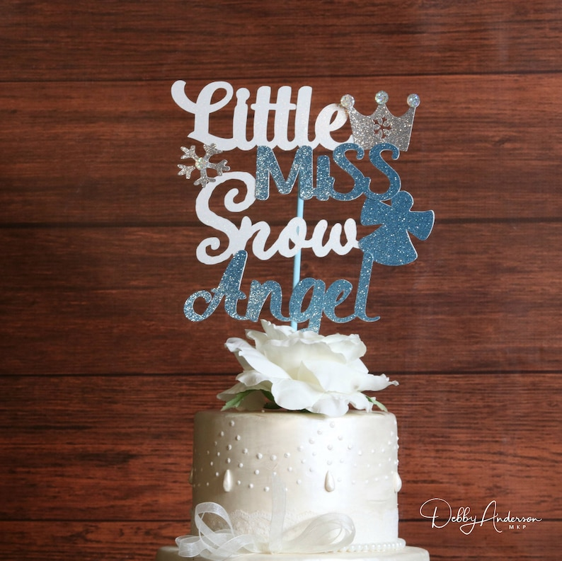 Little Miss Snow Angel Cake Topper Any Colors Snow Angel Etsy