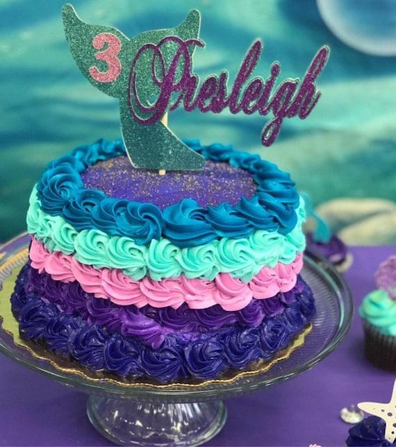 Fabulous Mermaid Birthday Any Name Age Mermaid Cake Topper Mermaid Etsy Personalised Birthday Cards Veneteletsinfo