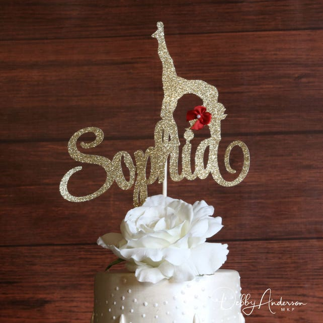 Dancer Cake Topper ANY NAME COLORS Gymnastic Birthday Party Decoration Girls