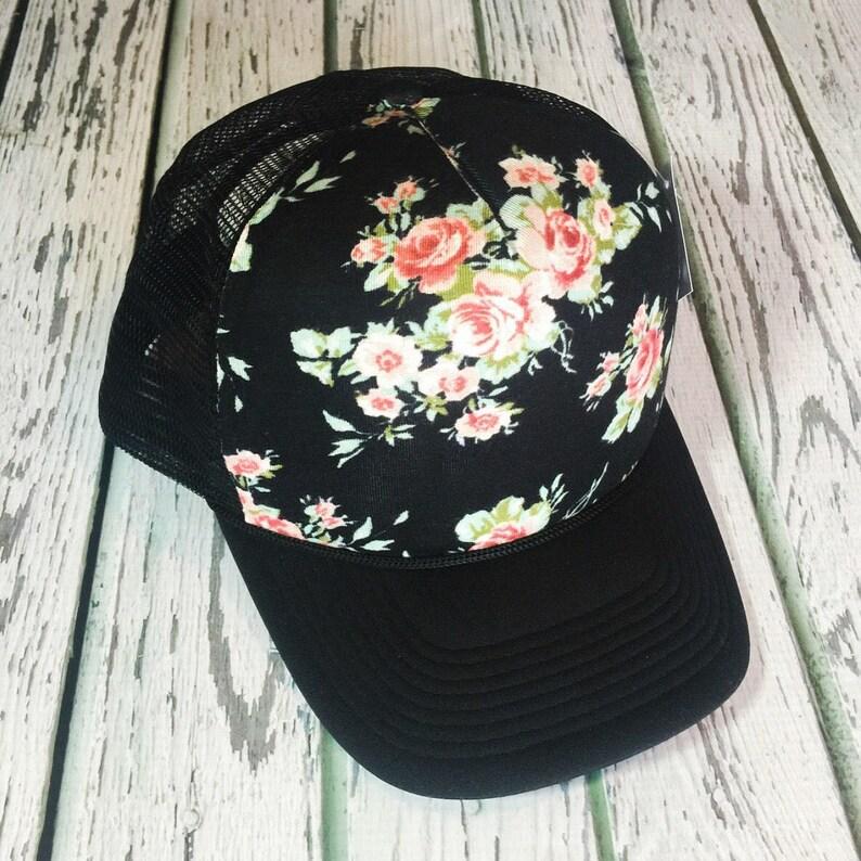 8d3b9215fc8 Black floral floral hat trucker hat floral trucker hat