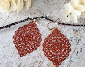Handpainted  Lace Earrings, Filigree Earrings,Red Brick  Dangle Earrings, Gold Earrings, Filigree Lace Earrings, Delicate Earrings