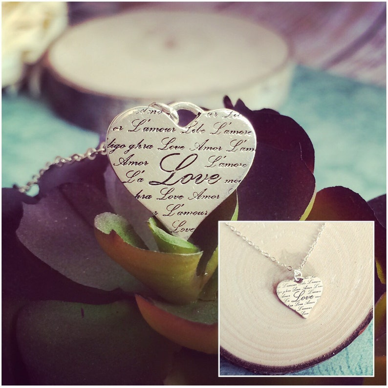 Sterling Silver Heart Necklace Sterling Silver Necklace Script Heart Necklace Script Love in Many Languages Heart Pendant Necklace