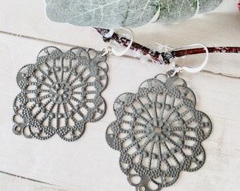 Handpainted  Lace Earrings, Filigree Earrings, Dangle Earrings, Lace Earrings, Silver Earrings, Filigree Lace Earrings, Delicate Earrings