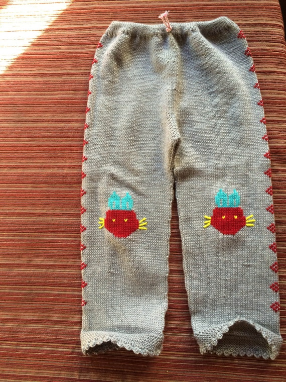 Knit Baby Pants, Grey Knit Infant, Baby Animal Pan