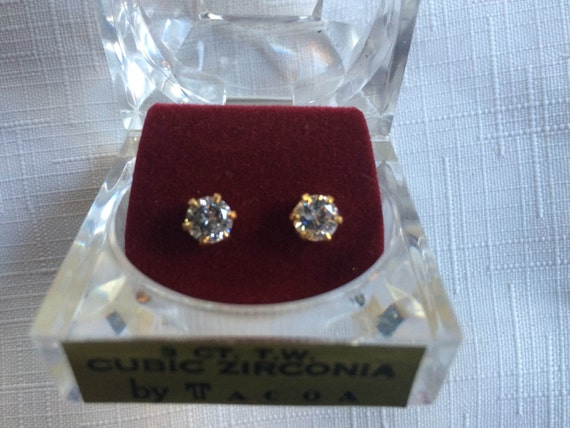 Diamond Earring, Diamond Stud, Cubic Zirconia Stu… - image 1