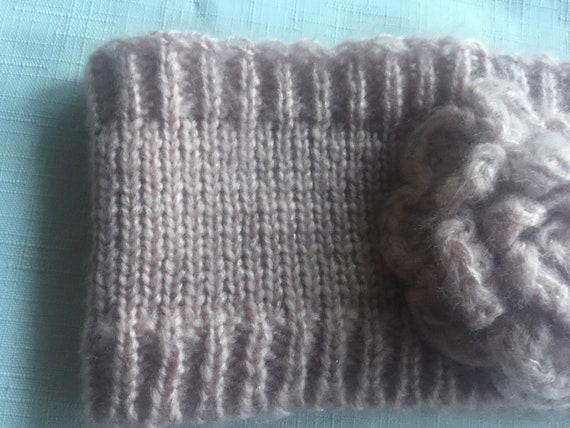 Pink Knit Headband,Pink Headband,Flower Headband,… - image 3