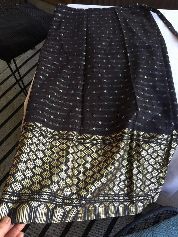 Wrap Around Skirt,Black Wrap Skirt,Black Gold Skir