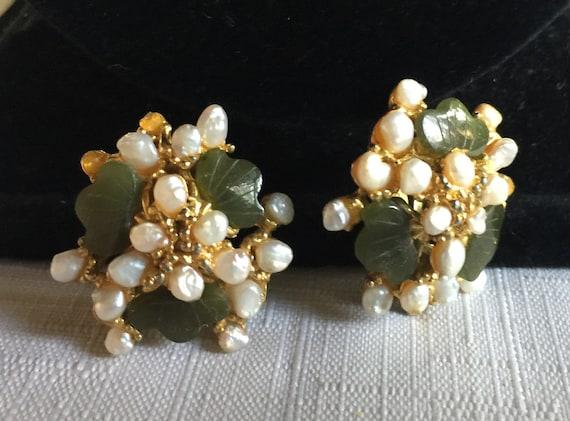 Gold Jade Earring, Jade Pearl Earring, Green Gold