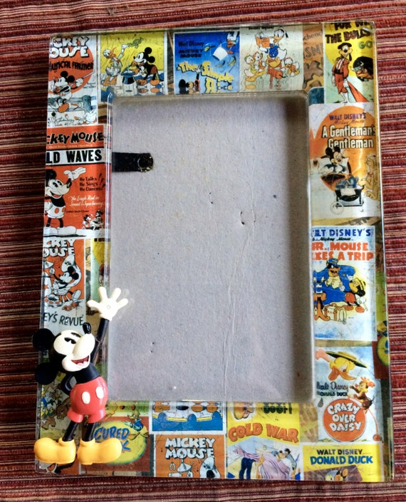 Mickey Mouse Glass Picture Frame Disney Photo Frame Disneyland Art ...