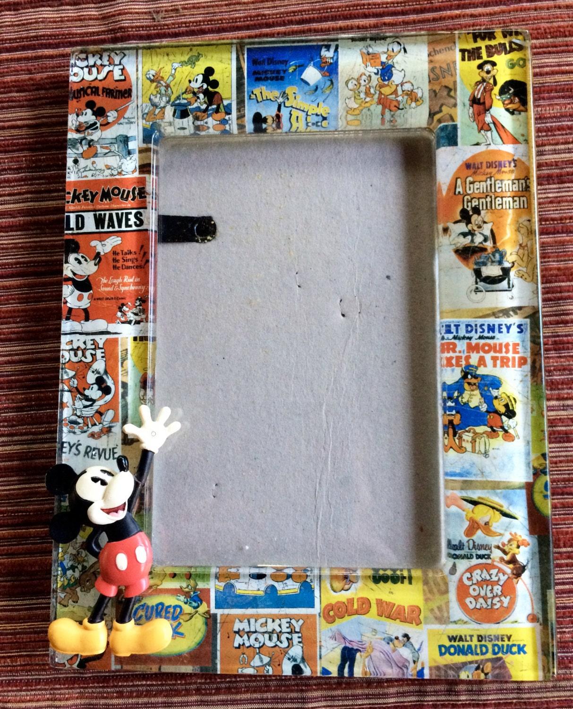 Vidrio Mickey Mouse imagen marco Disney foto marco Disneyland arte ...