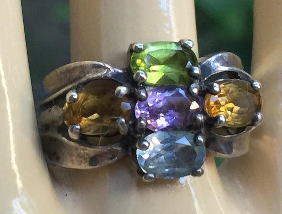 Gold Gem Ring, Multi Color Ring, Gold Jewel Ring,