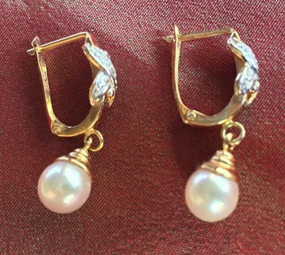 Gold Pearl Earring, Bridal Earring, Wedding Earrin