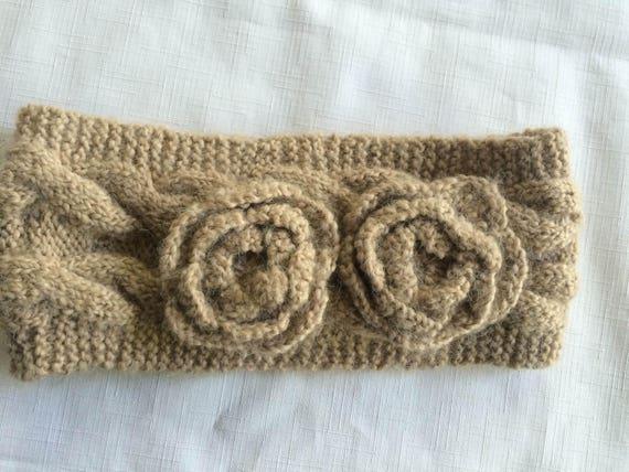 Tan Knit Headband,Beige Headband,Flower Headband,… - image 3